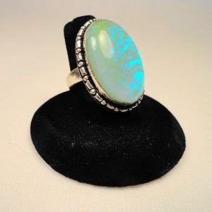 Fancy Rainbow Aqua Dichroic Glass .925 Silver Ring